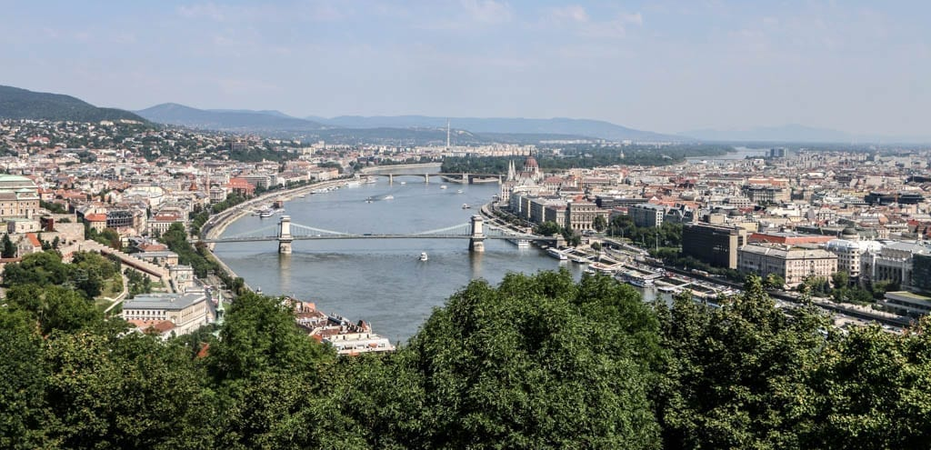 View from Gellert Hill, a stop on a self-guided walking tour of Budapest.