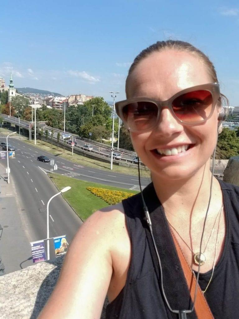 Walking up Gellert Hill on a walking tour of Budapest