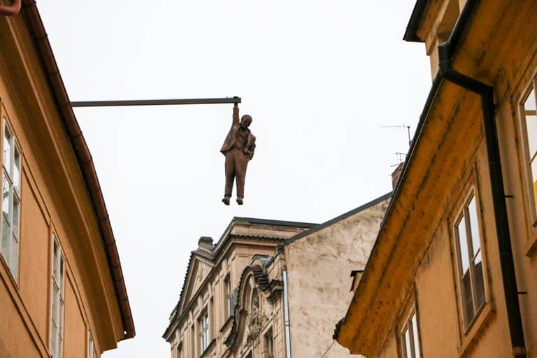 Hanging man in Prague