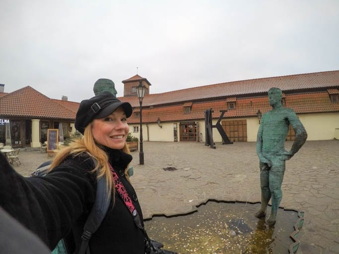 The Piss Sculpture at the Franz Kafka Museum is a must-stop on a walking tour of Prague!