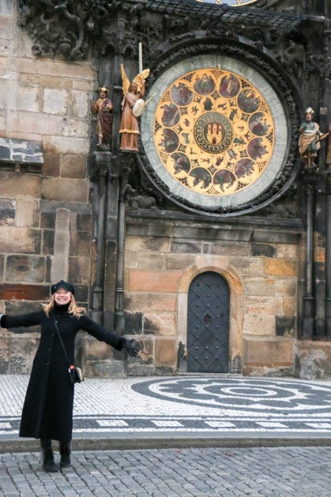 Old Town Square during a walking tour of Prague