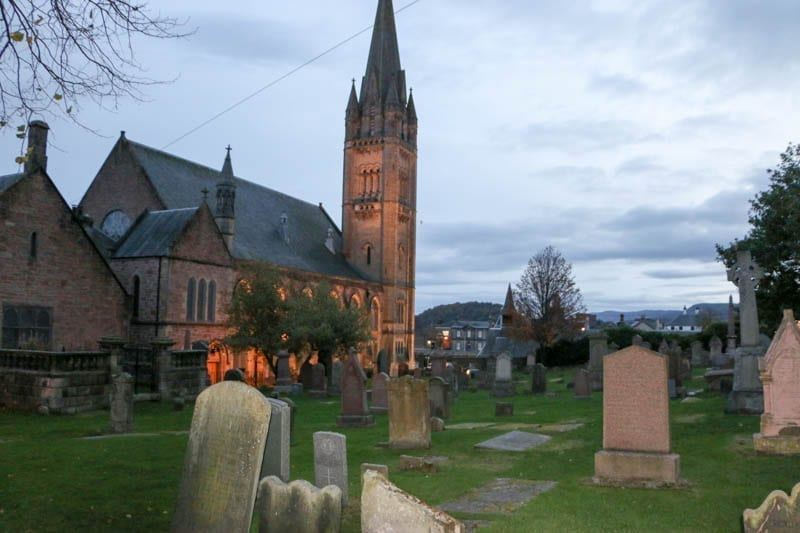 Old High Church in Inverness where Highlanders were shot to end the Jacobite uprising