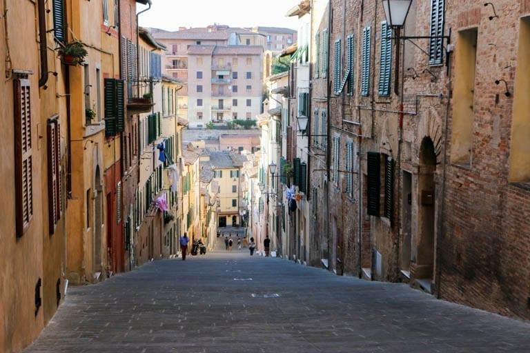 A Siena Street, Medieval city in Tuscany.