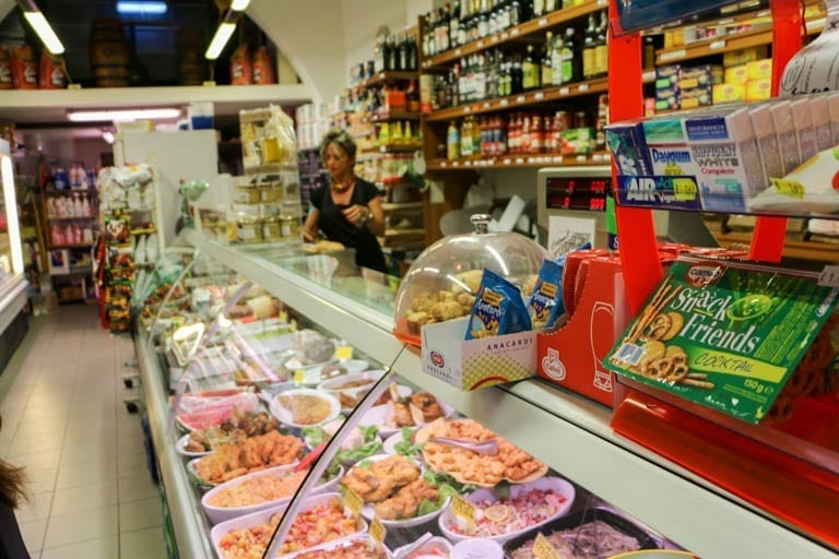 Deli counter in Siena, Italy