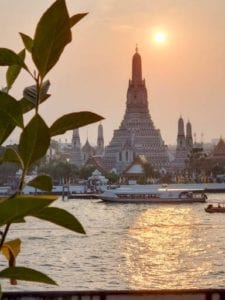 Temple of Dawn, Wat Arun, at sunset in Bangkok.