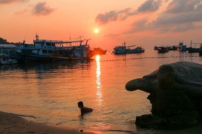 Sunset on Koh Tao in Thailand
