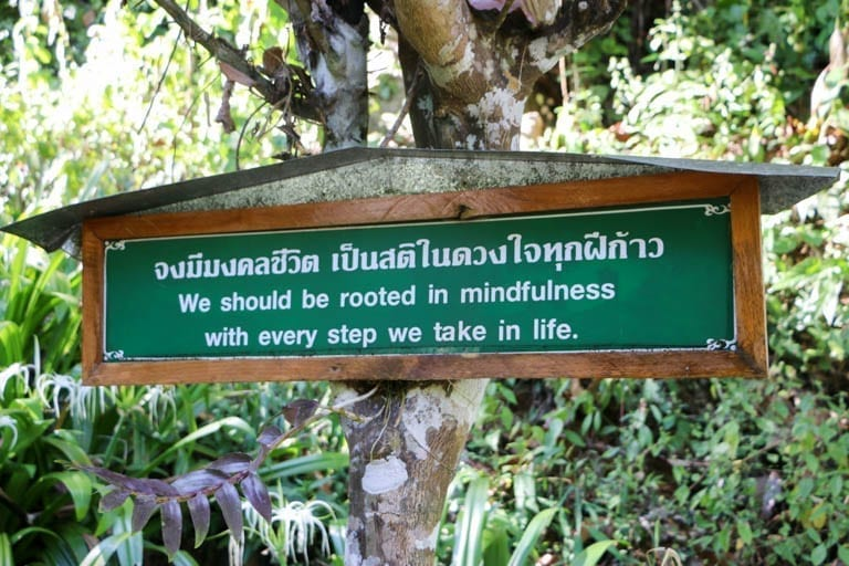An inspirational sign at Wat Tham Pha Plong in Chiang Dao