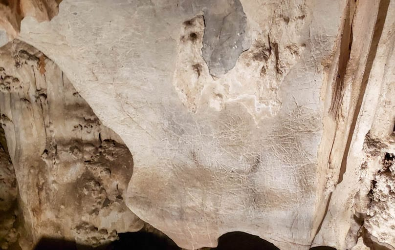 An ancient cave painting found in Tham Lot near the Cave Lodge in Thailand.
