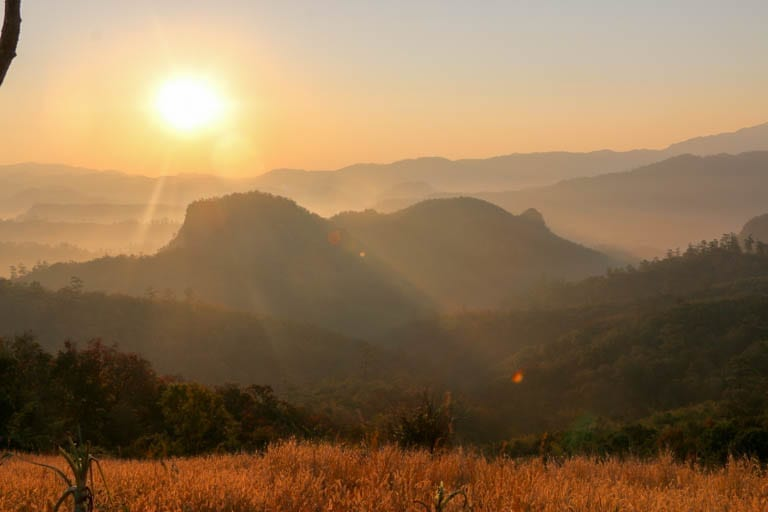 Sunrise in the mountains of Northern Thailand near the Cave Lodge.