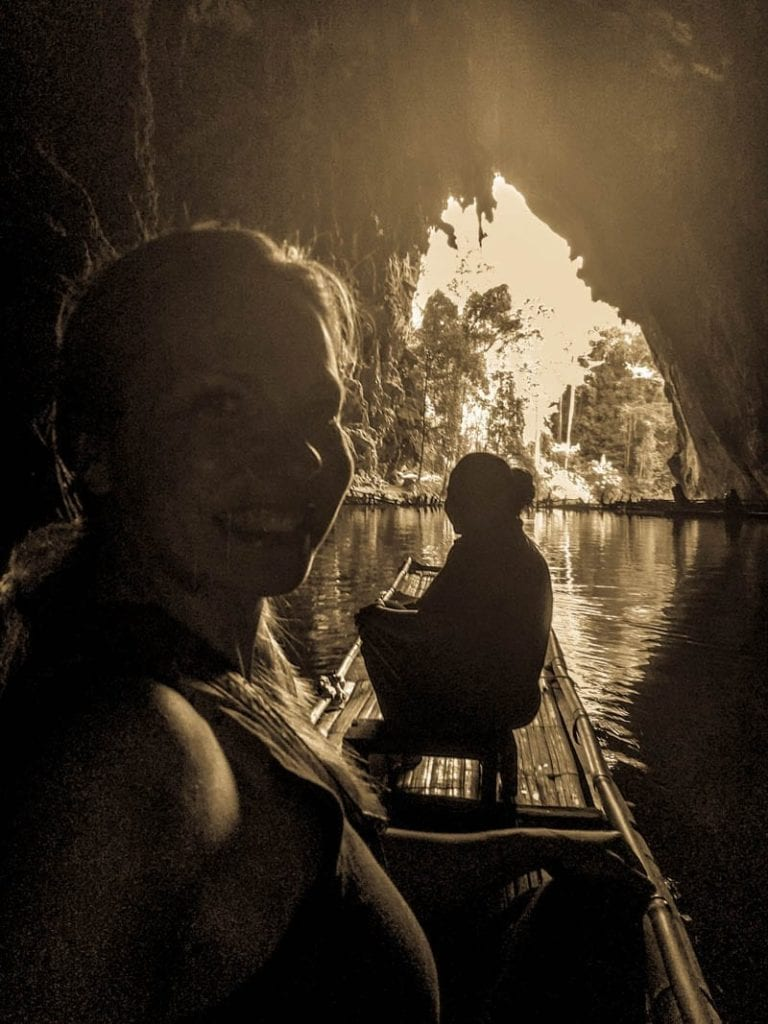 Bamboo Raft in Tham Lot Cave in Thailand