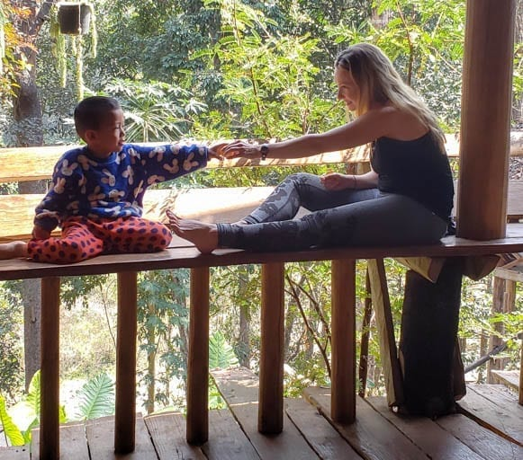 Making friends at the Cave Lodge in Thailand