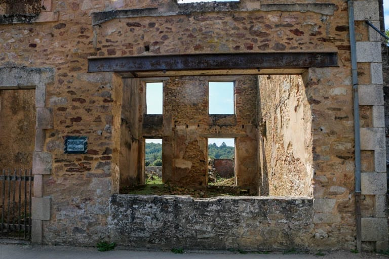 One of the six shooting sites of the men of the martyr village of France. Standing here gives you an idea of what happened at Oradour-sur-Glane.