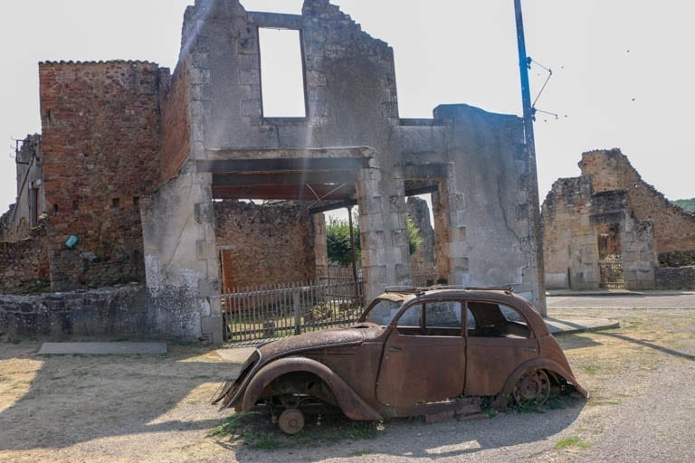 A car left after the burring of Oradour-sur-Glane in France