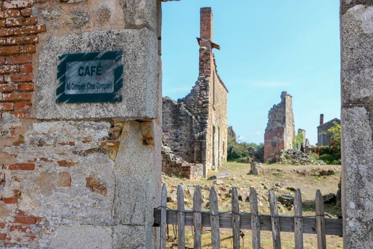What was once a cafe in Oradour-sur-Glane, the martyr village of France.