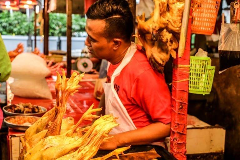 The meat market on a Malaysian street food tour of Kuala Lumpur