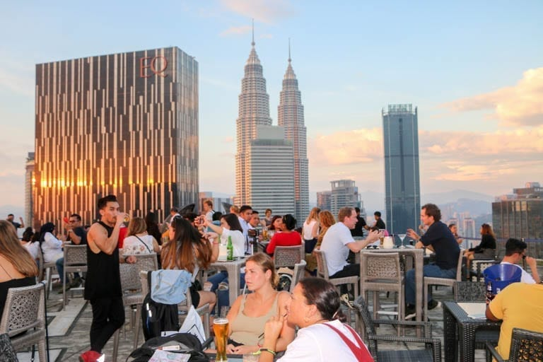 The Heli Lounge in Kuala Lumpur allows you to learn the city at sunset