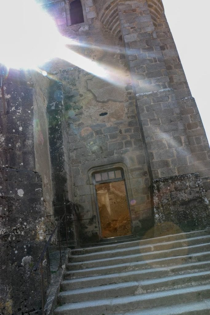Sun shines on the remains of the church of Oradour-sur-Glane in the martyr village of France