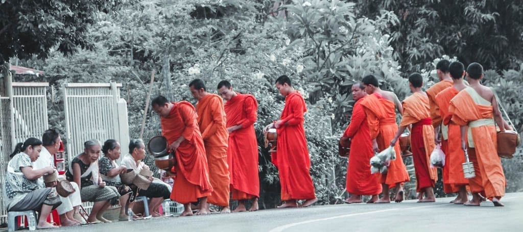 Collecting of alms in Luang Prabang
