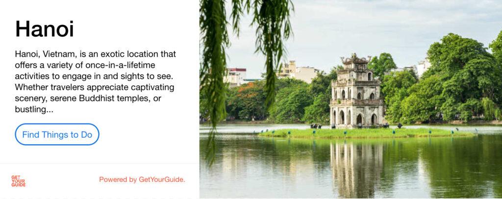 Hanoi activities advert for GetYourGuide