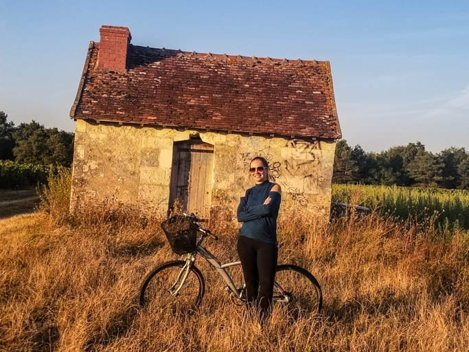 Learning to ride a bike in the Loire Valley of France