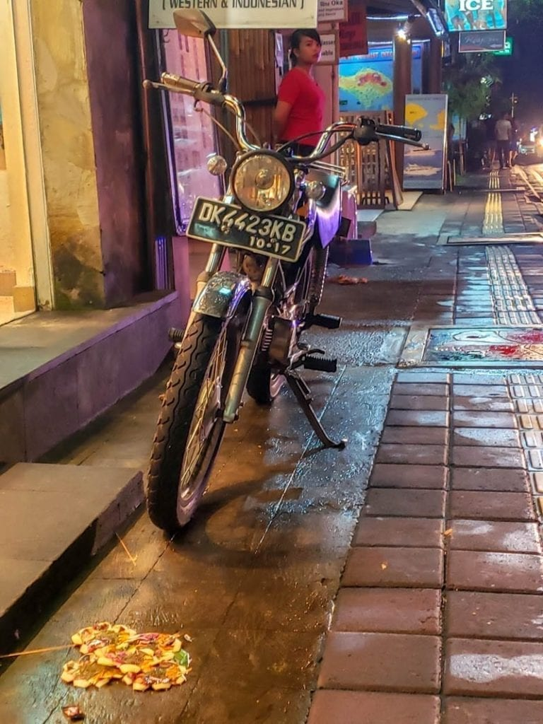 Bali scooter in the rain