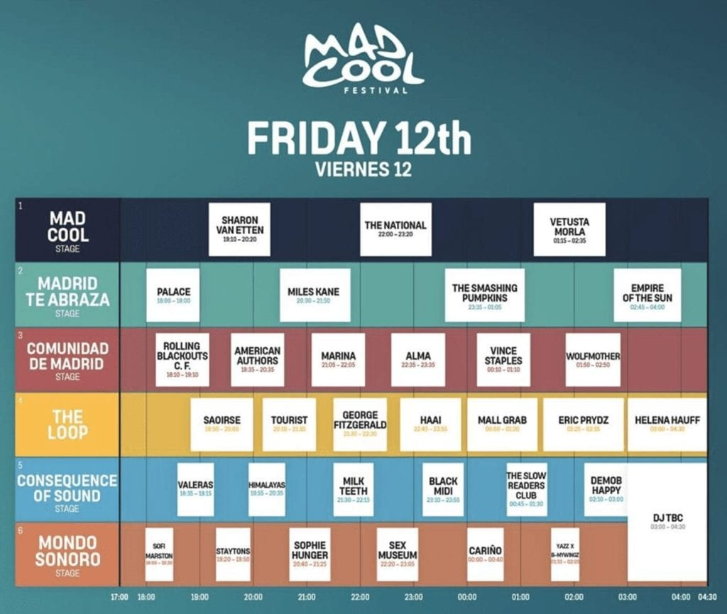 Mad Cool Friday 2019 Line-Up