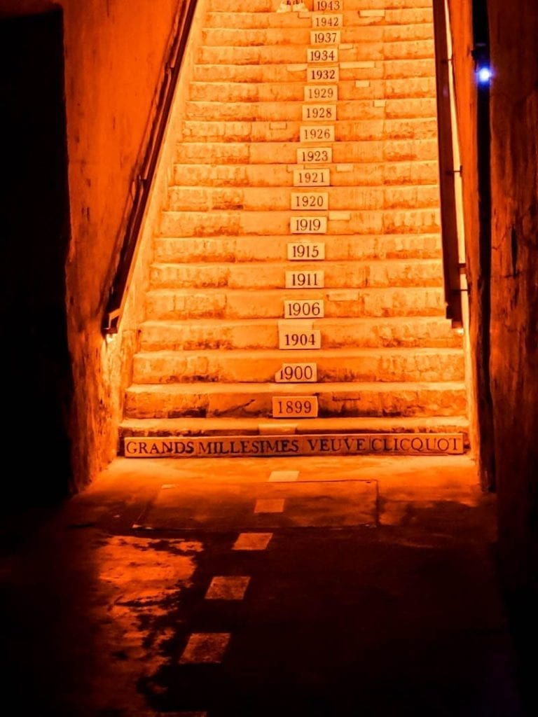 Stairs leading to the Veuve Clicquot wine cellars in Reims