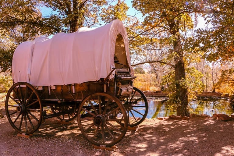 a covered wagon at Pipe Spring National Monument