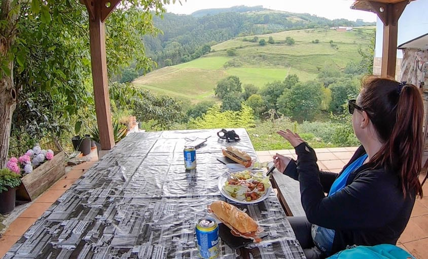 A woman eats lunch with a view in spain