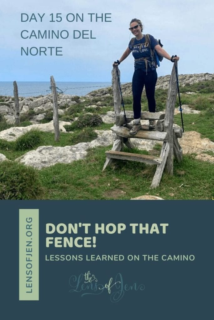 Pin of a woman hopping a fence on the Camino del Norte