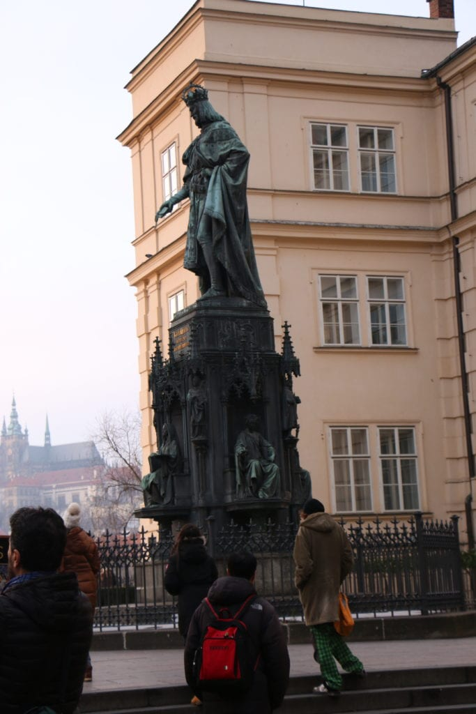 Is Charles peeing on the tourist crowds in Prague?