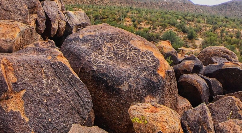 petroglyphs at Signal Trail in the Sonoran Desert