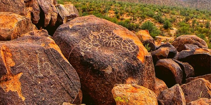 Petroglyphs on Signal Hill Trail in Saguaro National Park
