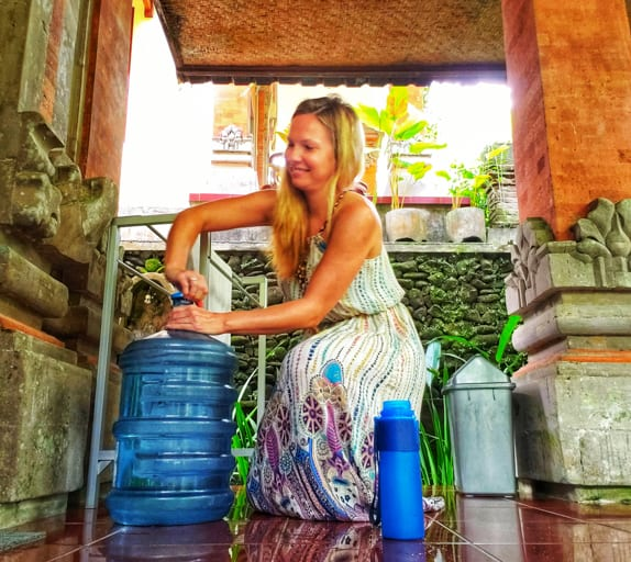This five-gallon water jug helped me travel without plastic water bottles for a month in Bali!