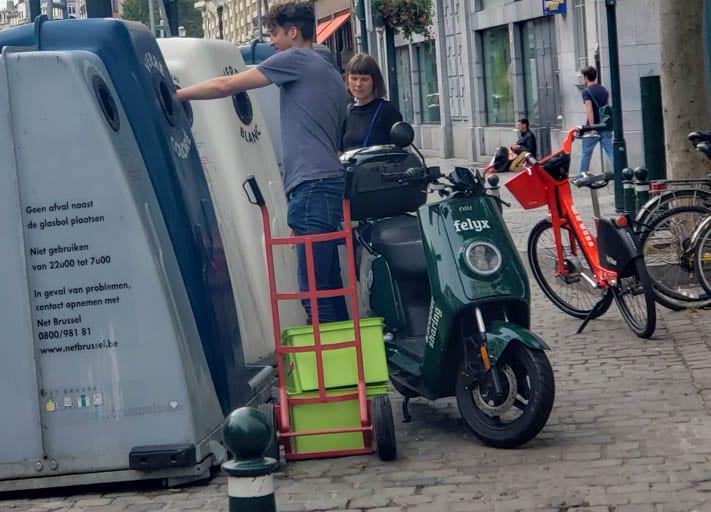 a recycling bin in Europe