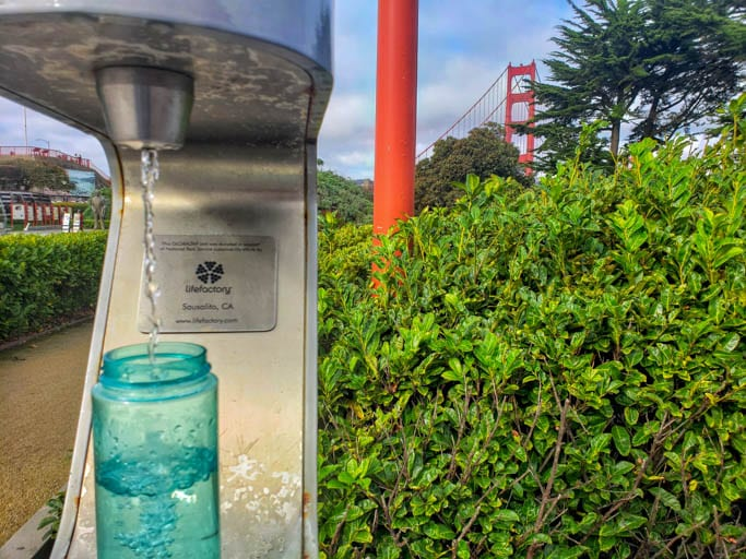 A water refill station at the Golden Gate Bridge helps us travel without plastic water bottles.