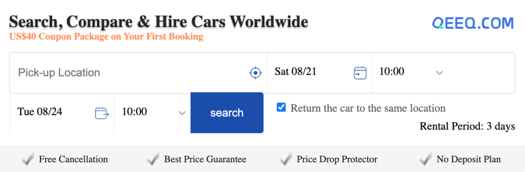Advert for car hire