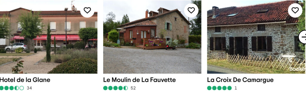 TripAdvisor advert for places to stay when visiting Oradour-sur-Glane