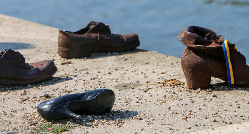 Shoes on the Danube Promenade, a must-see WWII site in Budapest.