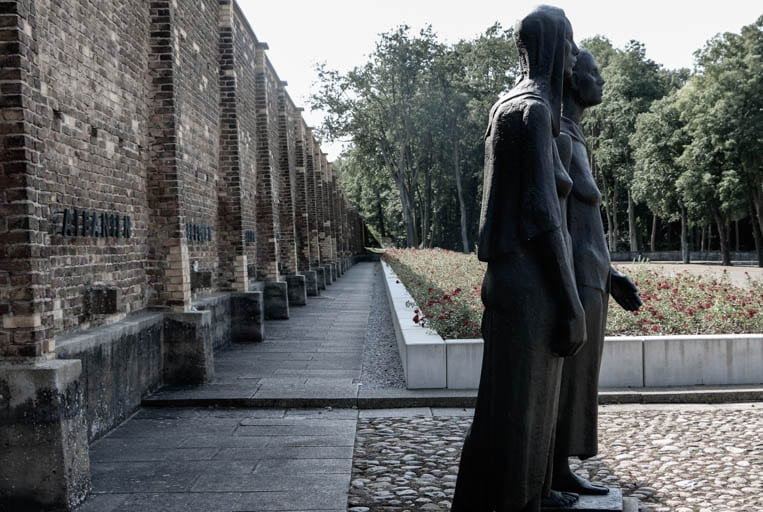 The shooting wall for executions at the Ravensbrück Concentration Camp is now a memorial