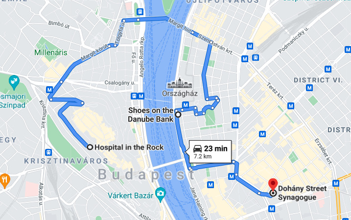 map of the must-see WWII sites of Budapest
