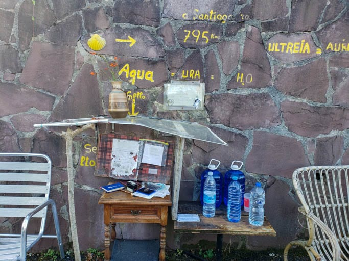 A credential stamping station on the Camino del Norte