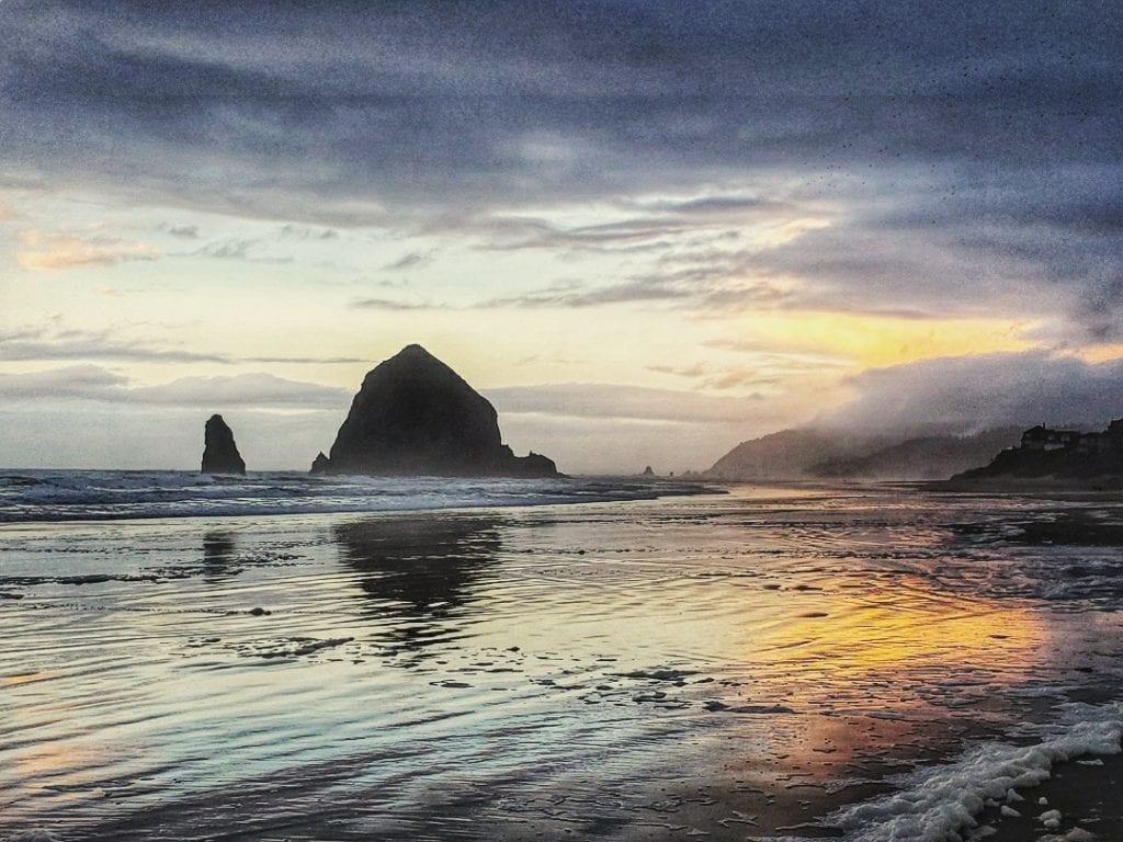 Haystack Rock in Cannon Beach on the Oregon Coast