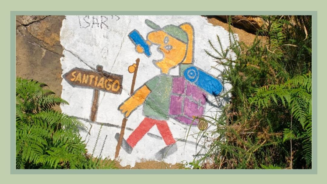 Painted sign on the Camino del Norte