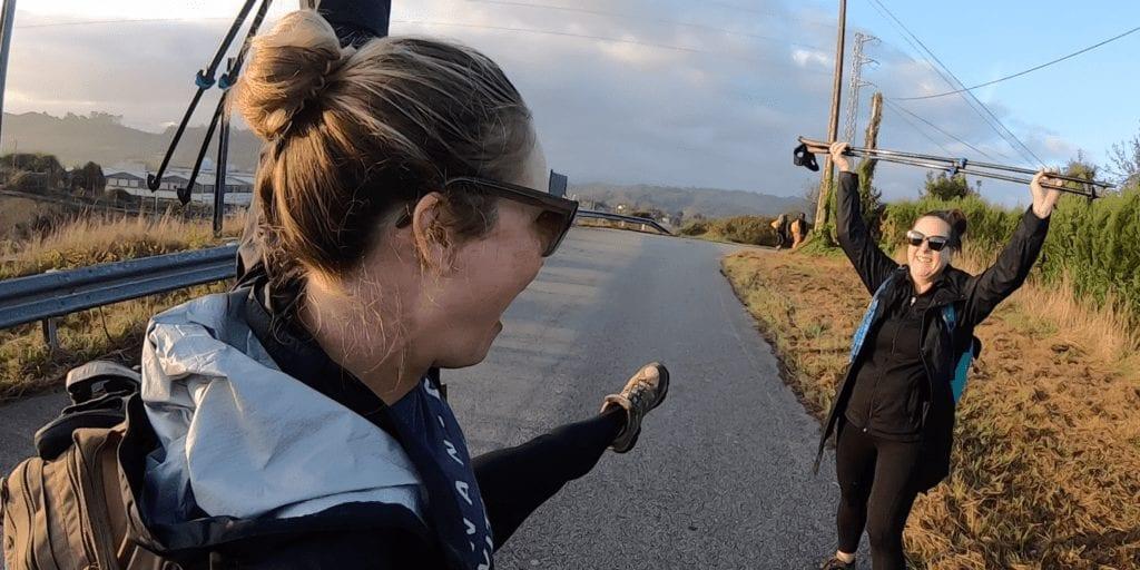 Two Women Celebrate on the Camino del Norte