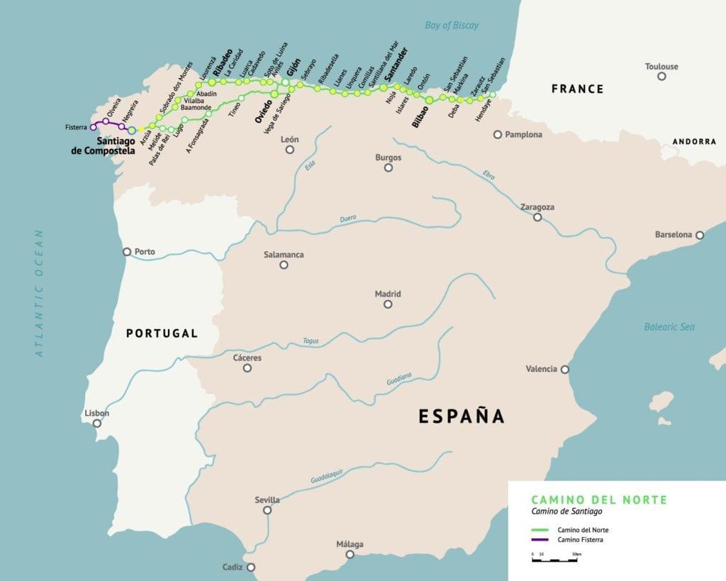 map of the camino del norte