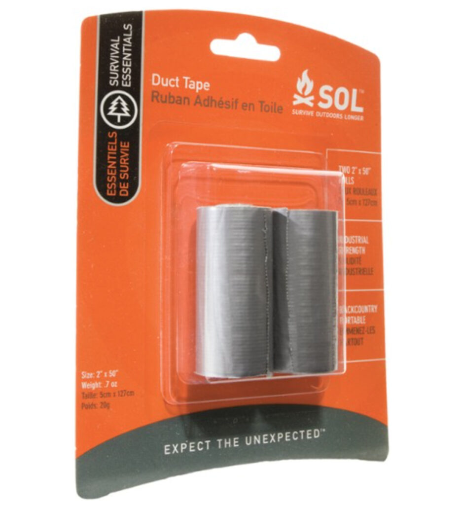 mini duct tape should be at the bottom of your hiking survival kit