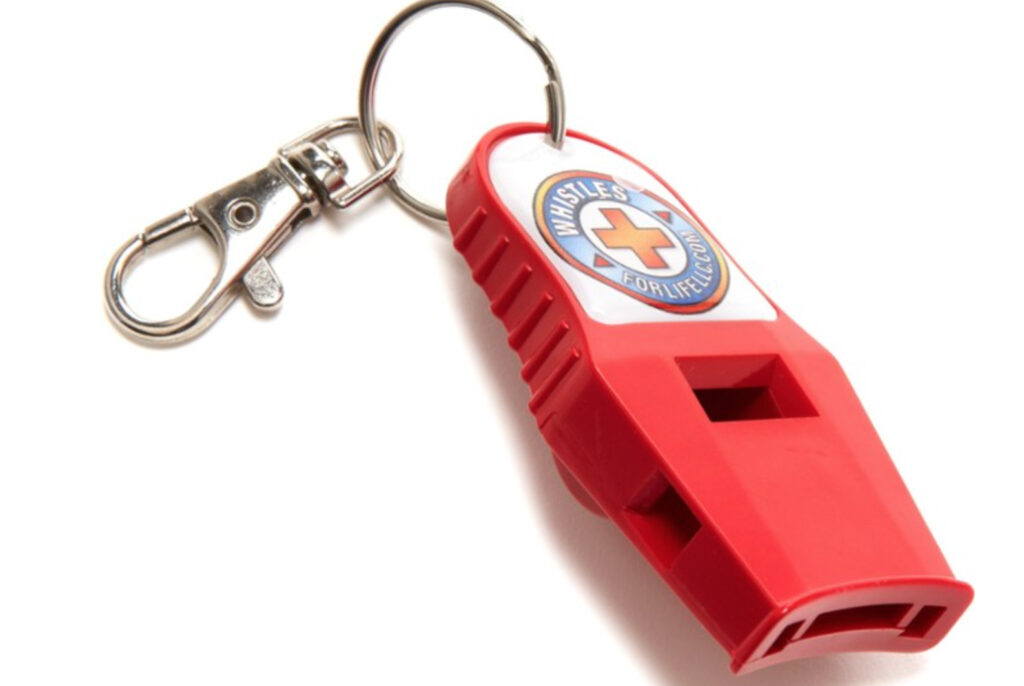 an emergency whistle is part of every hiking survival kit