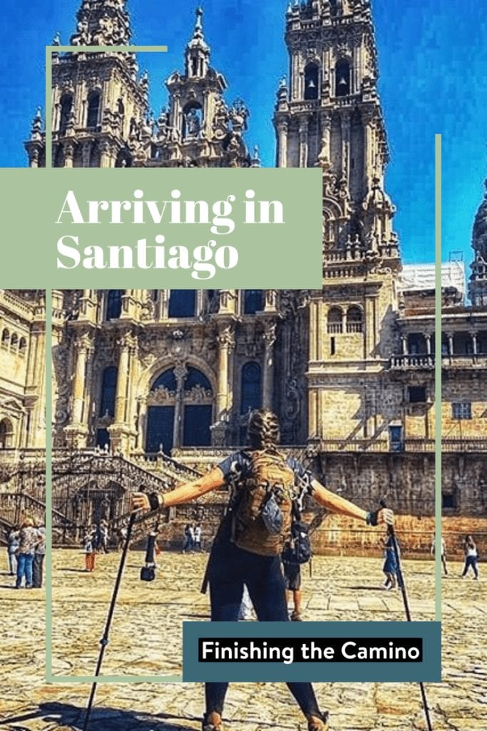 a pilgrim in front of the santiago cathedral