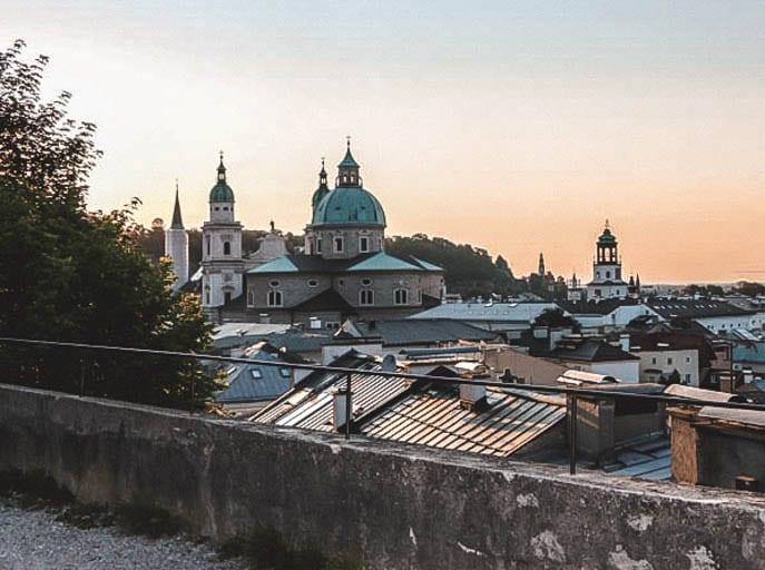 Sunset on a walking tour of Salzburg